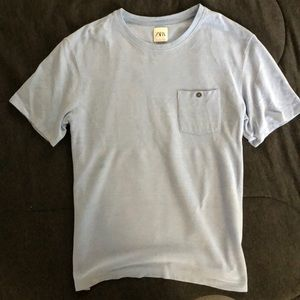 Zara Men Light Blue Tee with Pocket L